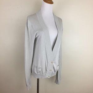 THEORY Silk Blend Knit Rib Detail Pockets Cardigan